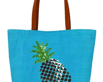 Women's Pineapple / Flamingo / Letters Embroidered Summer Beach Shoulder Tote Bag