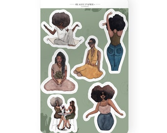 Flourishing - Multipack Feel good  personal, diary and Calendar planner sticker African American women illustrations|