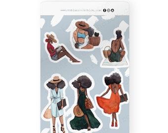 Summer Vibes-Black Girl Stickers|Planner Stickers|Black Girl planner Stickers|afro hair Sticker|