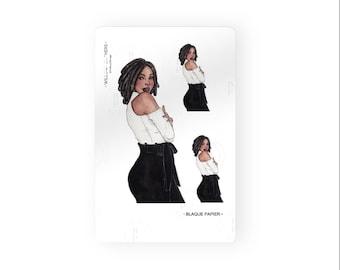 Willow-Black Girl Stickers|Planner Stickers|Black Girl planner Stickers|afro hair Sticker|Locs hair sticker