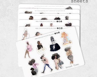 Starter Kit Stickers|Planner Stickers|Black Girl planner Stickers|Chic Girl Sticker|Fitness Girl Stickers|Tea Time Sticker|Afro Girl Sticker