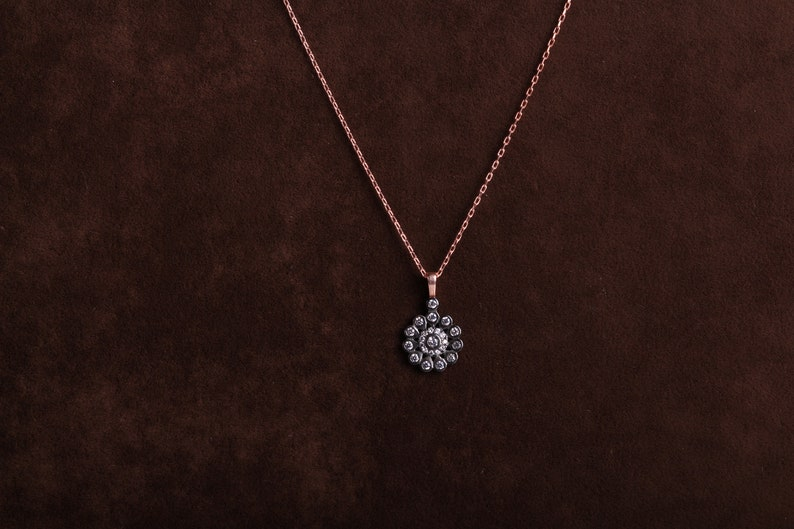 Flower Necklace in 925 Sterling Silver with Zircon Stones Pendant Charm Mount Rose Gold
