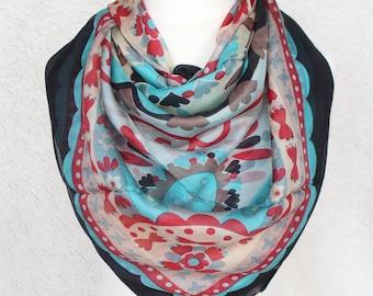 Pure Silk Scarf, Square Silk Scarf, Pure Silk Head Wrap, Spring Scarf, Floral Scarf.