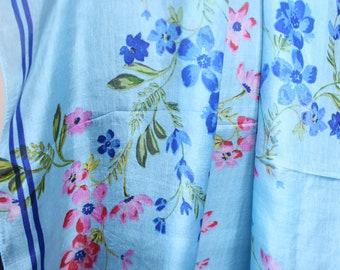 Square Silk Scarf, Pure Silk Scarf, Pure Silk Head Wrap, Spring Scarf, Blue Floral Scarf.