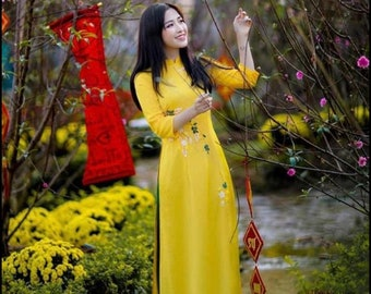 Women Ao Dai - Floral Design - Traditional Style - Yellow