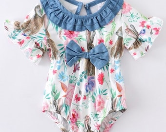 RTS NB Size Ruffle Sleeve Romper with Chick Embroidery