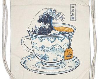 Kanagawa Tea Drawstring Bag Gym Sack Kanagawa japanese Tea Japan japanischer Tee Love Liebe Addicted Addiction teacup