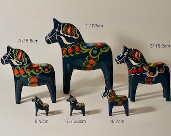 DALA HORSE original wooden vintage made in Sweden, Navy Blue