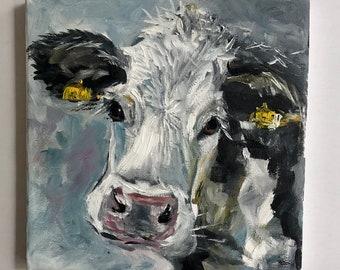 Cow Painting Impasto Animal Painting Original Painting Wall Art Oil Painting Small Wall Art