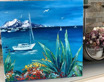Landscape painting Canvas Art Oil Painting Original Landscape Art Toskana Painting Abstract Wall Art Maritim Small Wall Art Gift