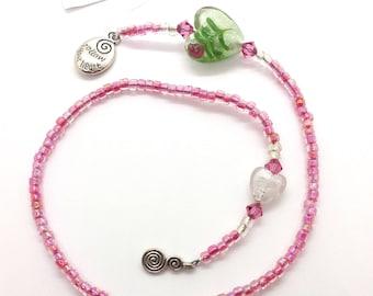 Beaded Thong Bookmark Pink Silver Hearts & Rosebud