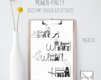 "Plotter file ""Möwen Party"", DigiStamp, DigiPapier, SVG"