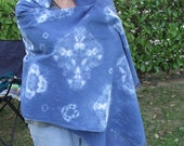 Blue Floral Scarf-Vintage Boho Clothing-Blue Cotton Scarf-Handmade Shibori Scarf-Natural Blue Dye-Summer Long Scarf-Beach Wear