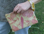 Cosmetics Bag-Pink Leather Clutch Bag-Floral Bag for Women-Clutch Purse-Handmade Bag-Gift