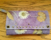 Floral Leather Wallet-Handcrafted By Artist-Ecoprinted & Natural Designs Created from Plants-Natural Dyed-Wearableart-Sustainable Fashion