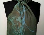 Summer Silk Scarf-Blue Silk Scarf-Women Head Scarves-Long Head Scarf-Shawl for Women