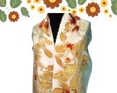 Long Silk Scarf-Ecoprinted Scarf-Gift Scarf for Women-Unique Scarves-Silk Head Scarf-Head Wrap