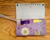 Floral Leather Wallet-Handcrafted By Artist-Ecoprinted & Natural Designs Created from Plants-Natural Dyed-Wearableart