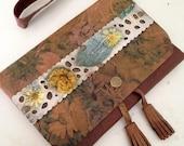 Leather Clutch-Ecoprinted-clutch purse-Women's clutch bag-Handmade clutch-leaf printed leather