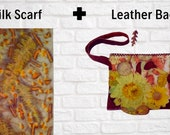 Mother's Day Gift-Floral Clutch Bag with Silk Scarf for Women-Leather Clutch-Clutch Purse-Women's Clutch Bag-Handmade clutch