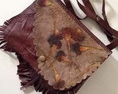 Vintage Shoulder Bag-Women's shoulder bag-Handmade shoulder-leaf printed leather Ecoprinted