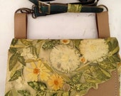 Leather Shoulder Bag-Ecoprinted & Natural Design-Handcrafted By Artist-Clutch Bag-Small Shoulder Bag for Women