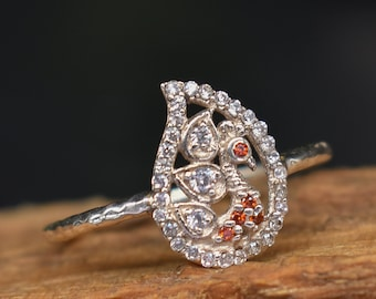 Intriguing Great Gift Fiery Peacock 2.90 ct MOISSANITE Luxurious RING 925 SILVER 9.23 mm Size 8 cz accents