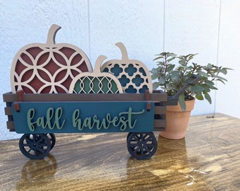 Interchangeable Wood Wagon Fall Harvest Add-On  Shelf Sitter or Mantle Decor   Available in a DIY Kit or finished in your color choices