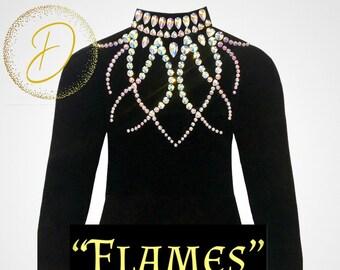 BlackSilver applique and pearl embellished leotard