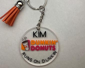 Fake leather Keychain Silver Keychain Dunkin Key Ring Dunkin Donuts Key Fob Coffee Keychain Dunkin Keychain Gold Keychain