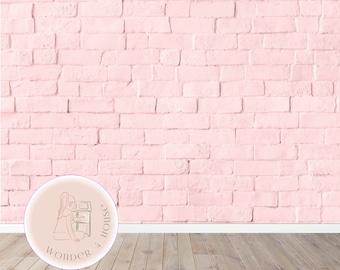 Pink Brick Dollhouse Wallpaper 1/6 scale, Modern Miniature Wallpaper Printable Download A4 Sheets
