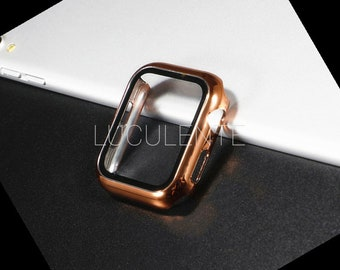Hard PC Case With Built in Screen Protector Compatible With Apple iWatch Series 6 se 5 4 3 2 1   44mm 42mm 40mm 38mm   Rose Gold