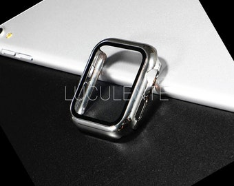 Hard PC Case With Built in Screen Protector Compatible With Apple iWatch Series 6 se 5 4 3 2 1   44mm 42mm 40mm 38mm   Silver