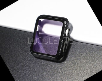 Hard PC Case With Built in Screen Protector Compatible With Apple iWatch Series 6 se 5 4 3 2 1   44mm 42mm 40mm 38mm   Puple Carbon