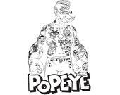 SVG file Popeye with Custom made Tattoos Tattooed Sailor man Clipart for Cricut Silhouette Vinyl Cut machine