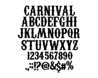 CARNIVAL FONT SVG, Carnival Alphabet, Carnival Letters and numbers svg for cricut, Silhouette, Carnival signs - Instant download