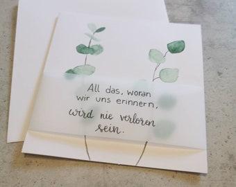 "Mourning card ""Memories"" – mourning, condolences, condolence card"