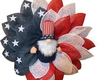 Uncle Sam, Gnome, Patriotic, 4th of July, Independence Day, American Flag Flower Wreath, Veteran's Day, Memorial Day