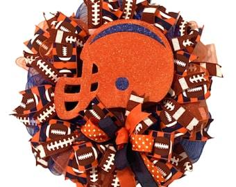 Orange & Blue, Auburn, University of Illinois, Chicago Bears, U of I Football Helmet Wreath, Glitter, Orange Helmet, NFL, College Football