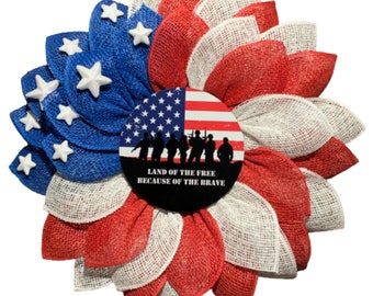 Land of the Free Because of the Brave, Patriotic, American Flag, Flower Wreath, 4th of July, Independence Day, Military, Veteran's Day