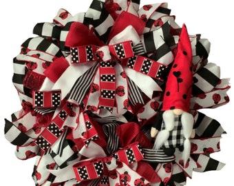 Spring Summer Ladybug Lady Bug Gnome Wreath with Plush Gnome Black Red White