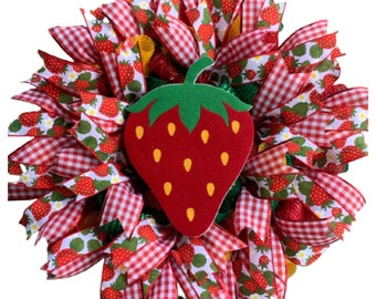 Strawberry Wreath with Foam Berry, Red Yellow Green Deco Mesh, Strawberry Wired Ribbon, Front Door, Summer, Welcome