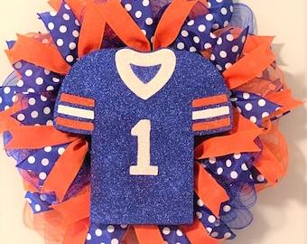 Blue & Orange, Auburn, University of Illinois, Chicago Bears, Sports Jersey Wreath