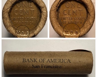 Wheat Pennies Unsearched 500 pennies//  San Antonio Auction-Bank Security Bag