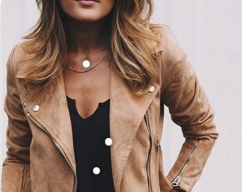 Women's & Girls 100% Genuine High Quality Goat Suede Leather Cropped Motor Biker Jacket Slim-fit, Long Sleeves Beautiful look