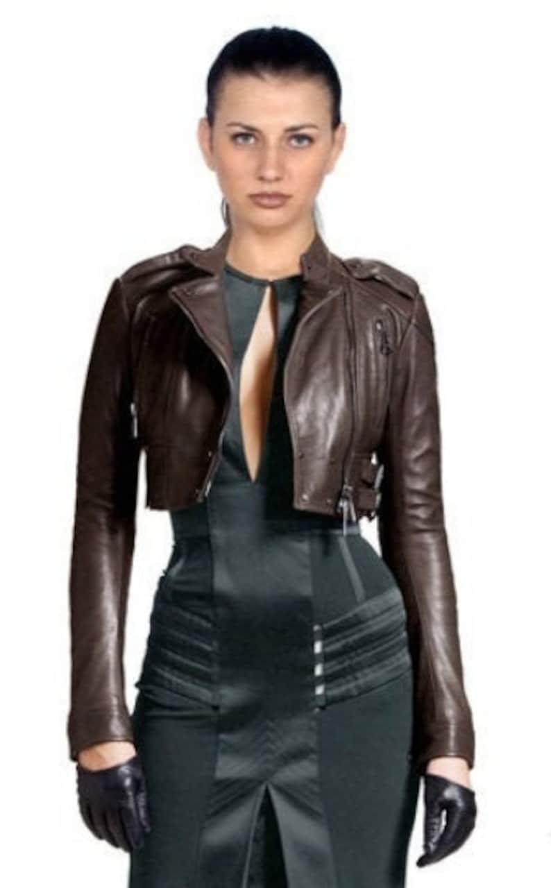 Bolero Shrug Style Slim fit long Sleeves Women /& Girls 100/% Genuine Soft Lambskin Leather Cropped Motor Biker Jacket