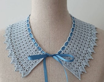 Blue Crochet Collar with Satin Ribbon | Pale Baby Blue Retro Style Collar | Peter Pan Lace Collar | Adjustable Victorian Style Collar