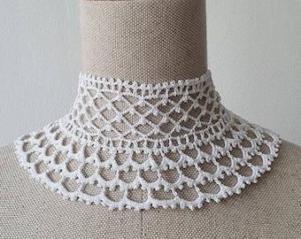 High Neck Crochet Lace Collar
