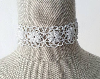 Crochet Off-White Choker | Lace Crochet Choker with Pearl Button | Woman's Fashion and Accessories
