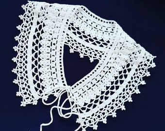 Crochet White Collar Necklace with Adjustable Crochet Ribbon | Neo Victorian Style Wide Collar for Cosplay | Detachable Knit Handmade Collar